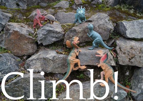 Dinosaurs climbing