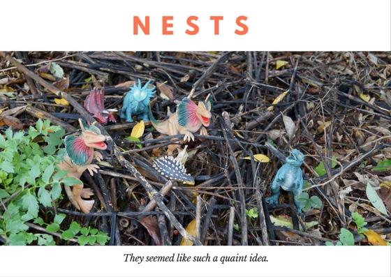 Dinosaurs building a nest of sticks