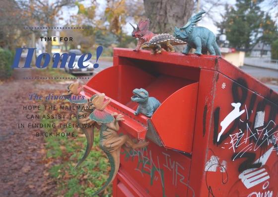 Dinosaurs at a mailbox