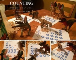 Counting with Cheerios during Dinovember